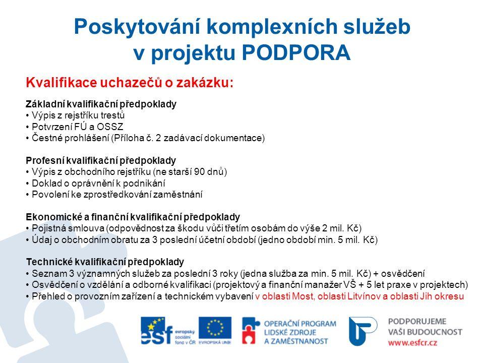 Poskytování komplexních služeb v projektu PODPORA Kvalifikace uchazečů o zakázku: Základní kvalifikační předpoklady Výpis z rejstříku trestů Potvrzení FÚ a OSSZ Čestné prohlášení (Příloha č.