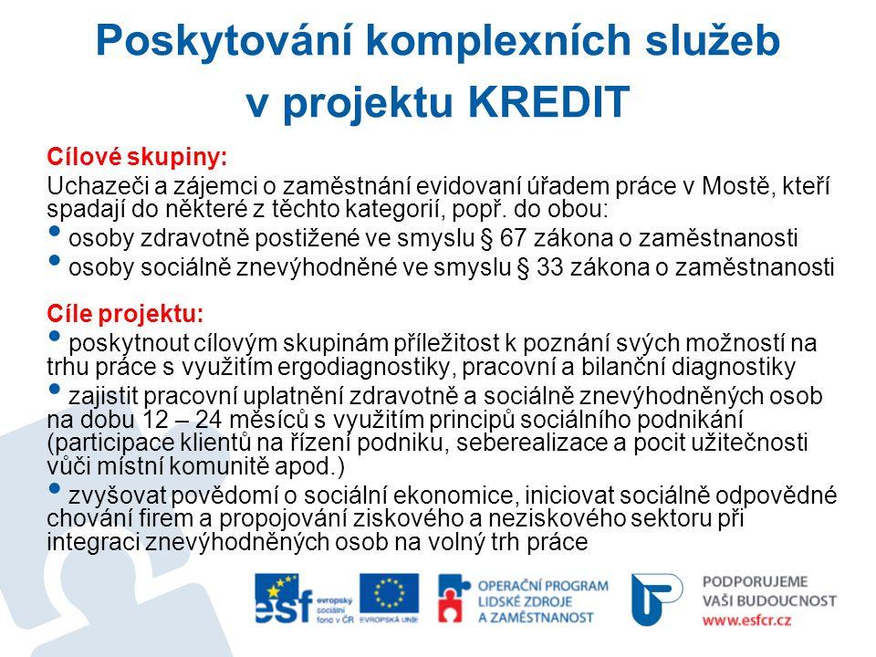 Poskytování komplexních služeb v projektu KREDIT Cílové skupiny: Uchazeči a zájemci o zaměstnání evidovaní úřadem práce v Mostě, kteří spadají do některé z těchto kategorií, popř.