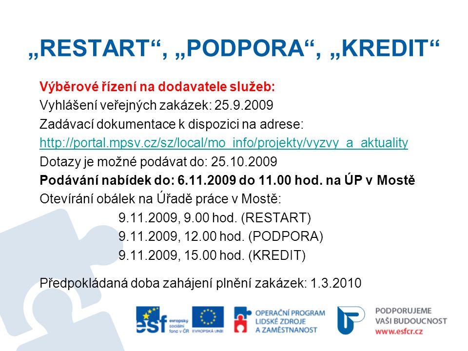 """""""RESTART , """"PODPORA , """"KREDIT Výběrové řízení na dodavatele služeb: Vyhlášení veřejných zakázek: 25.9.2009 Zadávací dokumentace k dispozici na adrese: http://portal.mpsv.cz/sz/local/mo_info/projekty/vyzvy_a_aktuality Dotazy je možné podávat do: 25.10.2009 Podávání nabídek do: 6.11.2009 do 11.00 hod."""