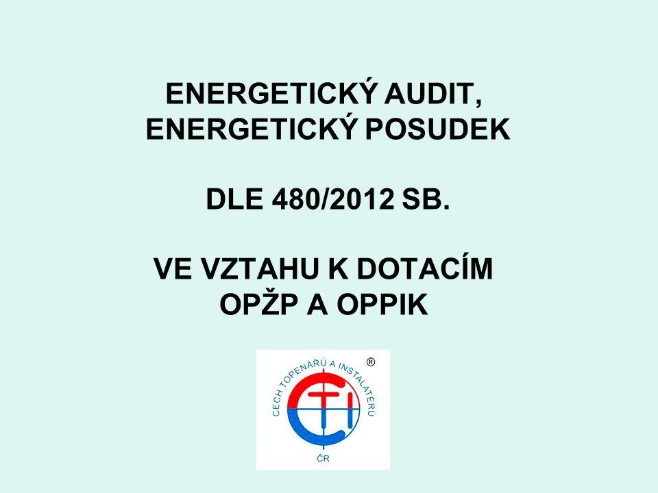 ENERGETICKÝ AUDIT, ENERGETICKÝ POSUDEK DLE 480/2012 SB. VE VZTAHU K DOTACÍM OPŽP A OPPIK