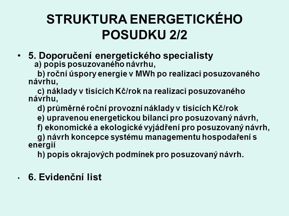 STRUKTURA ENERGETICKÉHO POSUDKU 2/2 5.