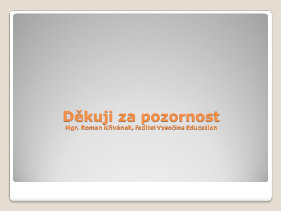 Děkuji za pozornost Mgr. Roman Křivánek, ředitel Vysočina Education