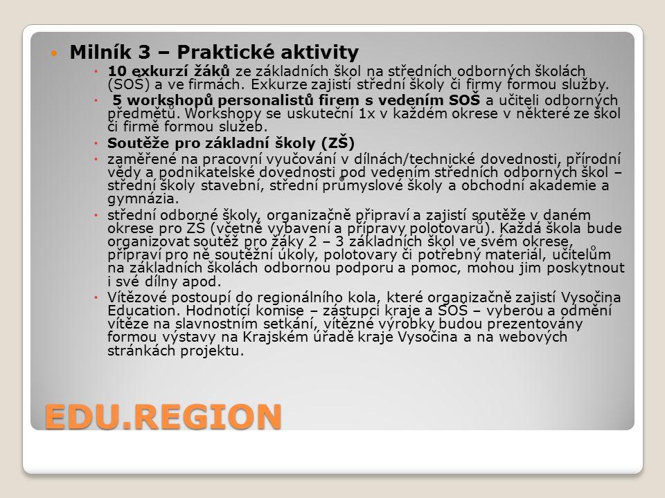 EDU.REGION Milník 3 – Praktické aktivity  10 exkurzí žáků ze základních škol na středních odborných školách (SOŠ) a ve firmách. Exkurze zajistí střed