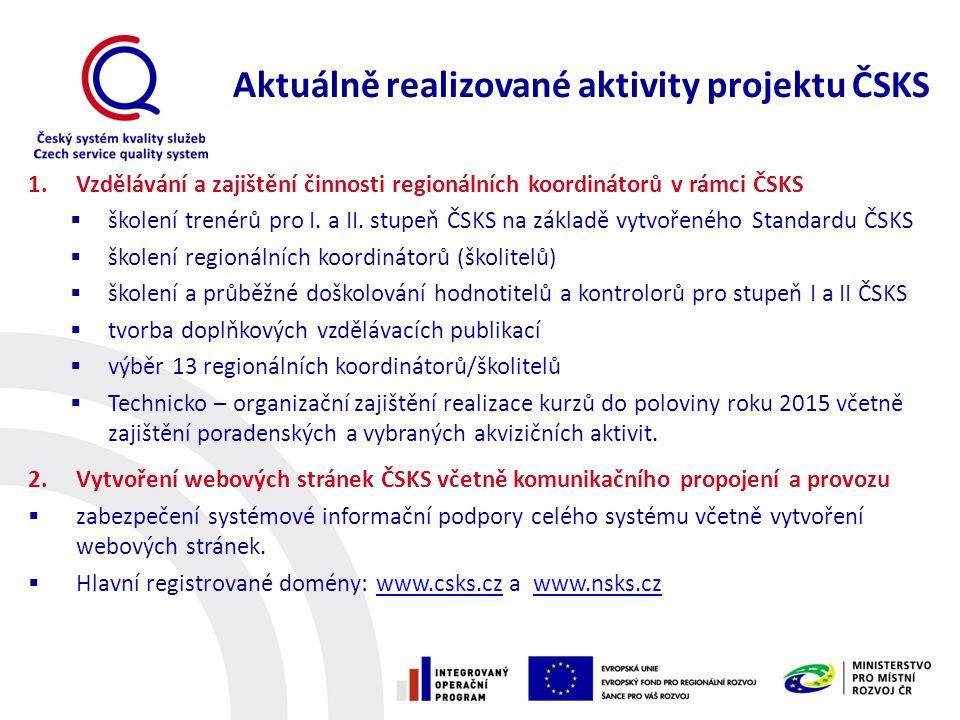 1.Vzdělávání a zajištění činnosti regionálních koordinátorů v rámci ČSKS  školení trenérů pro I. a II. stupeň ČSKS na základě vytvořeného Standardu Č