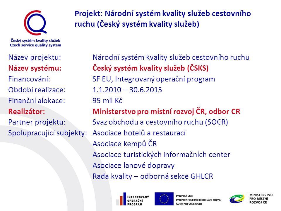 Název projektu: Národní systém kvality služeb cestovního ruchu Název systému:Český systém kvality služeb (ČSKS) Financování: SF EU, Integrovaný operač
