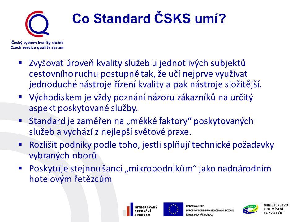  Založen na sebehodnocení  Zásady péče o kvalitu o Poznání potřeb zákazníka o Standardy poskytovaných služeb o Odbornost a školení pracovníků o Komunikace o Aktivní práce se stížnostmi  Technické předpoklady kvality, jsou-li aplikovatelné  Další požadavky (vize, závazek pracovníků apod.) Standard ČSKS – I.