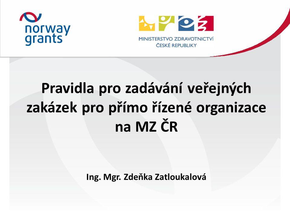 Pravidla pro zadávání veřejných zakázek pro přímo řízené organizace na MZ ČR Ing.