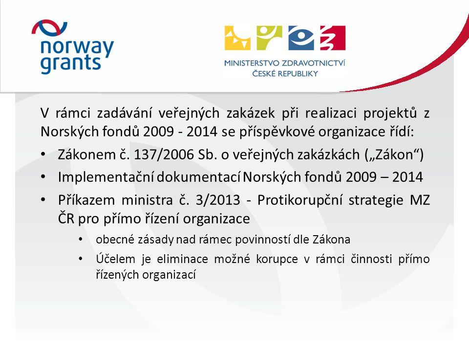 V rámci zadávání veřejných zakázek při realizaci projektů z Norských fondů 2009 - 2014 se příspěvkové organizace řídí: Zákonem č.