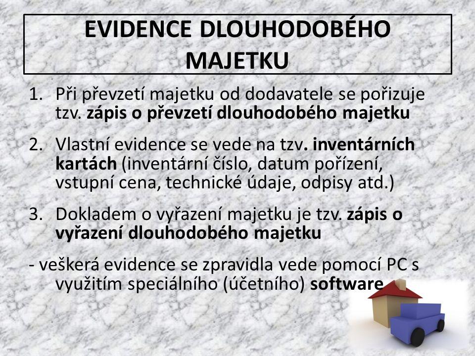 EVIDENCE DLOUHODOBÉHO MAJETKU 1.Při převzetí majetku od dodavatele se pořizuje tzv. zápis o převzetí dlouhodobého majetku 2.Vlastní evidence se vede n