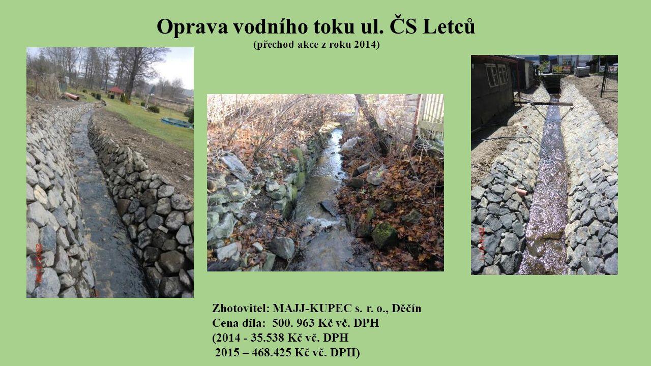 Oprava vodního toku ul. ČS Letců (přechod akce z roku 2014) Zhotovitel: MAJJ-KUPEC s.