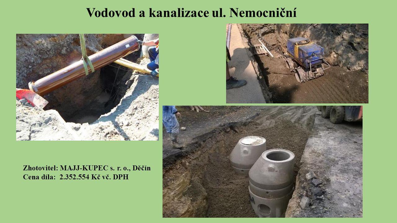 Vodovod a kanalizace ul. Nemocniční Zhotovitel: MAJJ-KUPEC s.