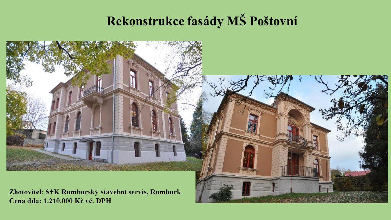 Rekonstrukce fasády MŠ Poštovní Zhotovitel: S+K Rumburský stavební servis, Rumburk Cena díla: 1.210.000 Kč vč.