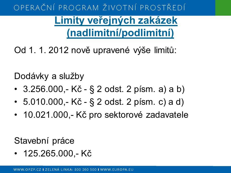 Limity veřejných zakázek (nadlimitní/podlimitní) Od 1.
