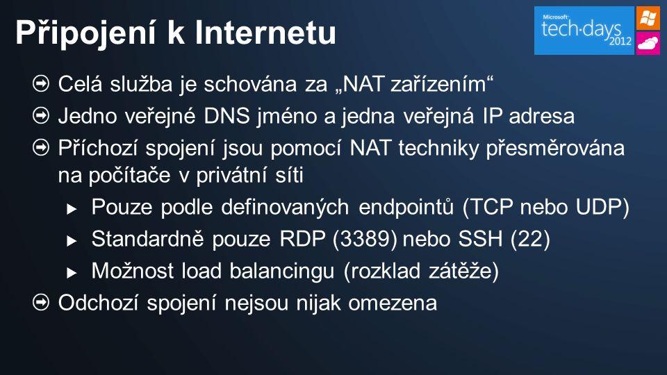 """Celá služba je schována za """"NAT zařízením Jedno veřejné DNS jméno a jedna veřejná IP adresa Příchozí spojení jsou pomocí NAT techniky přesměrována na počítače v privátní síti  Pouze podle definovaných endpointů (TCP nebo UDP)  Standardně pouze RDP (3389) nebo SSH (22)  Možnost load balancingu (rozklad zátěže) Odchozí spojení nejsou nijak omezena Připojení k Internetu"""