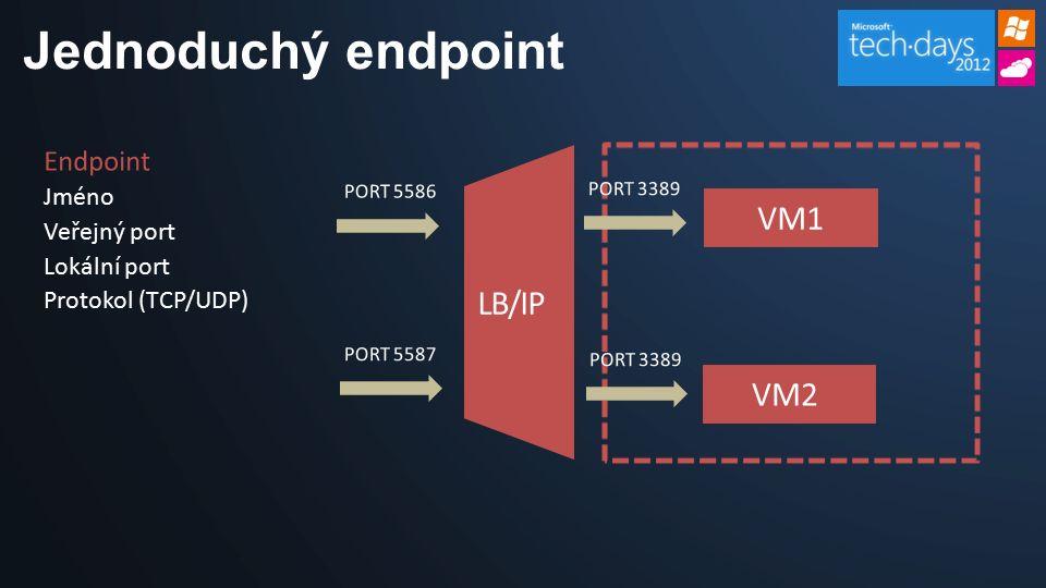 Jednoduchý endpoint Endpoint Jméno Veřejný port Lokální port Protokol (TCP/UDP)