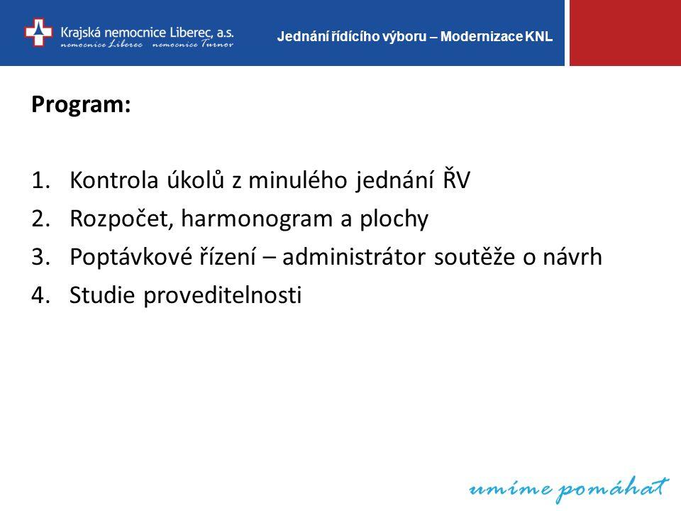 Jednání řídícího výboru – Modernizace KNL Program: 1.Kontrola úkolů z minulého jednání ŘV 2.Rozpočet, harmonogram a plochy 3.Poptávkové řízení – administrátor soutěže o návrh 4.Studie proveditelnosti
