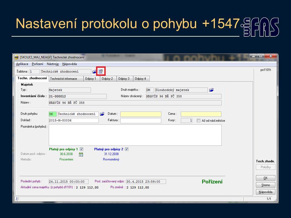 Nastavení protokolu o pohybu +1547