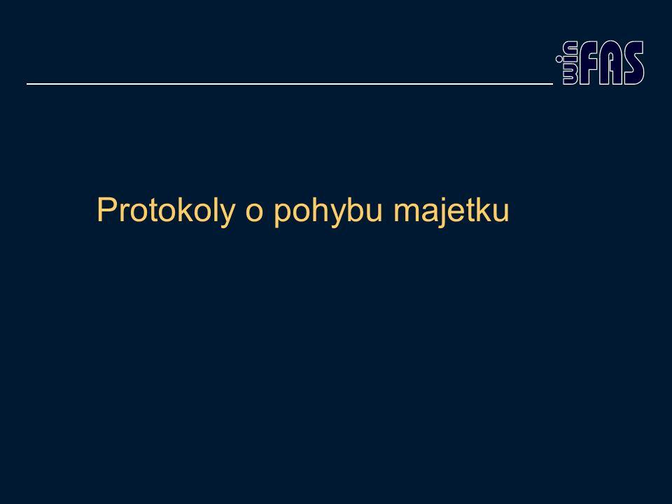 Protokoly o pohybu +1547 Slouží pro otevření protokolu hned po uložení pohybu Doposud automatické pouze při zařazení a vyřazení majetku Nyní možné využít pro technické zhodnocení, změnu ceny, změnu údajů