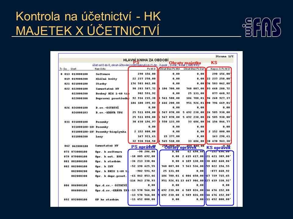 Kontrola na účetnictví - HK MAJETEK X ÚČETNICTVÍ