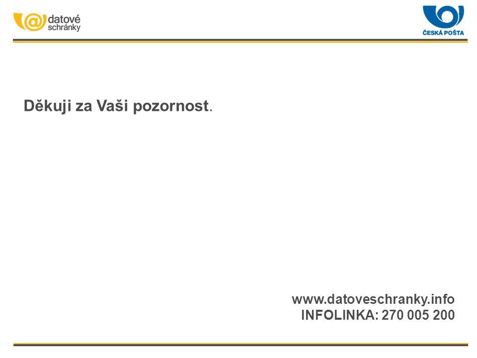 Děkuji za Vaši pozornost. www.datoveschranky.info INFOLINKA: 270 005 200