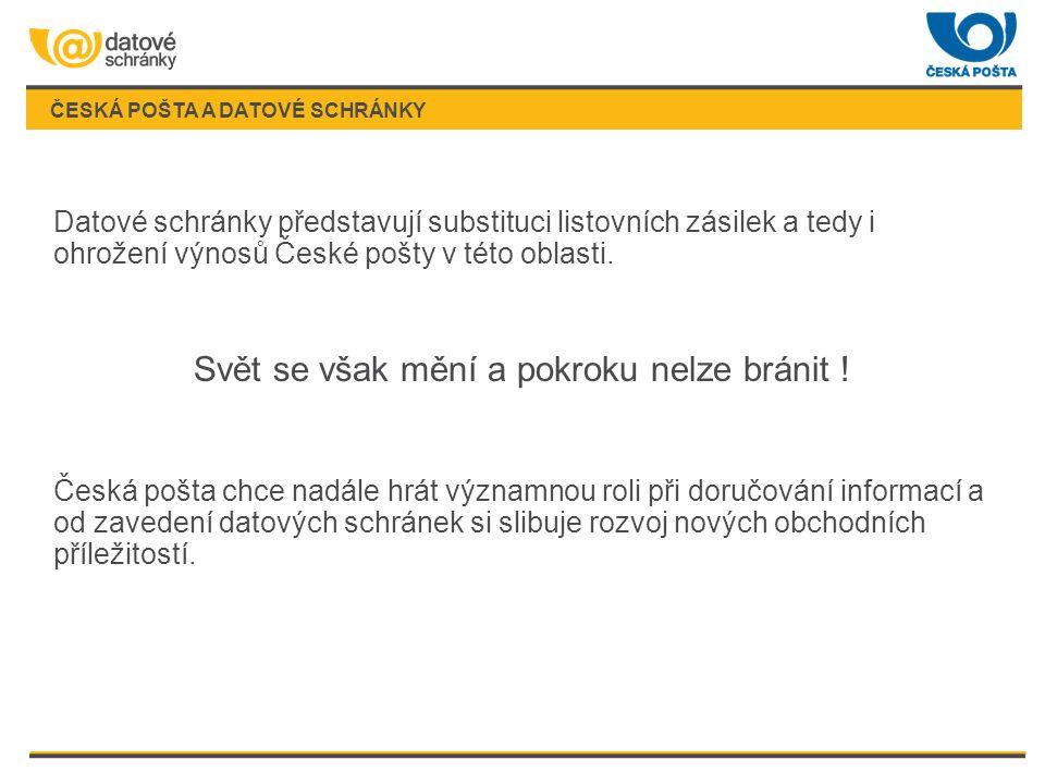 ČESKÁ POŠTA A DATOVÉ SCHRÁNKY Datové schránky představují substituci listovních zásilek a tedy i ohrožení výnosů České pošty v této oblasti.