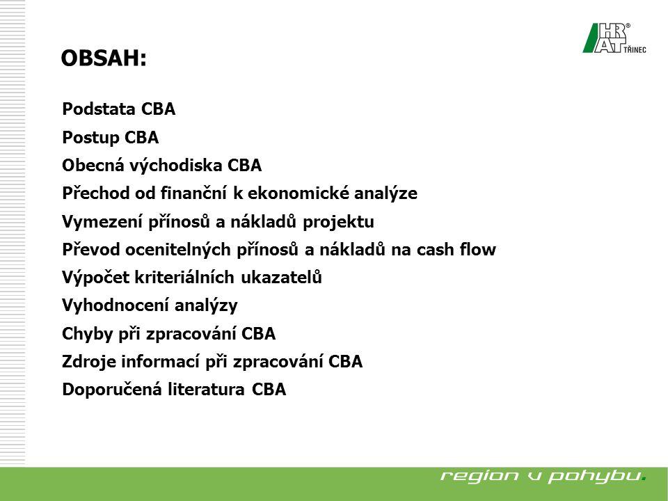 Podstata CBA Postup CBA Obecná východiska CBA Přechod od finanční k ekonomické analýze Vymezení přínosů a nákladů projektu Převod ocenitelných přínosů a nákladů na cash flow Výpočet kriteriálních ukazatelů Vyhodnocení analýzy Chyby při zpracování CBA Zdroje informací při zpracování CBA Doporučená literatura CBA OBSAH: