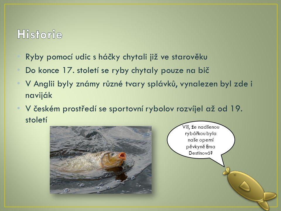 Ryby pomocí udic s háčky chytali již ve starověku Do konce 17.