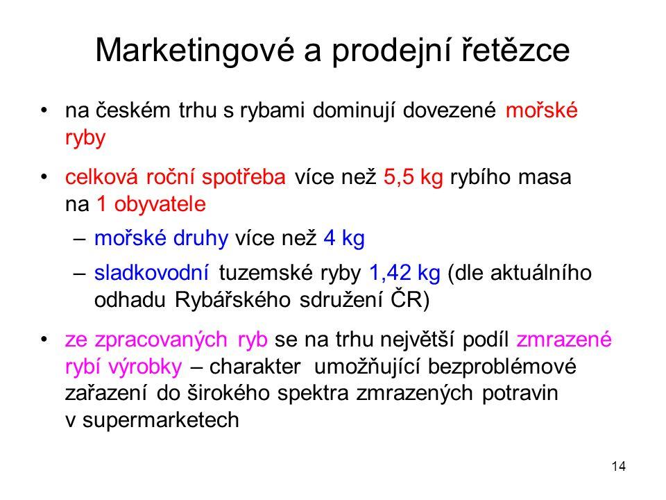 14 Marketingové a prodejní řetězce na českém trhu s rybami dominují dovezené mořské ryby celková roční spotřeba více než 5,5 kg rybího masa na 1 obyva