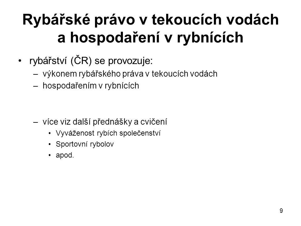 9 Rybářské právo v tekoucích vodách a hospodaření v rybnících rybářství (ČR) se provozuje: –výkonem rybářského práva v tekoucích vodách –hospodařením