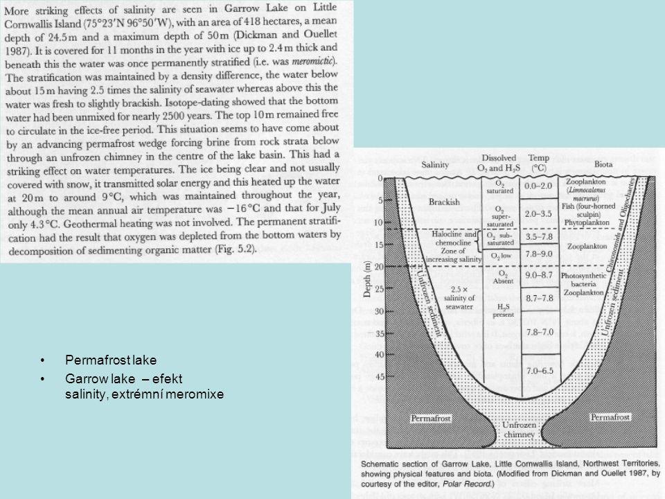 Permafrost lake Garrow lake – efekt salinity, extrémní meromixe