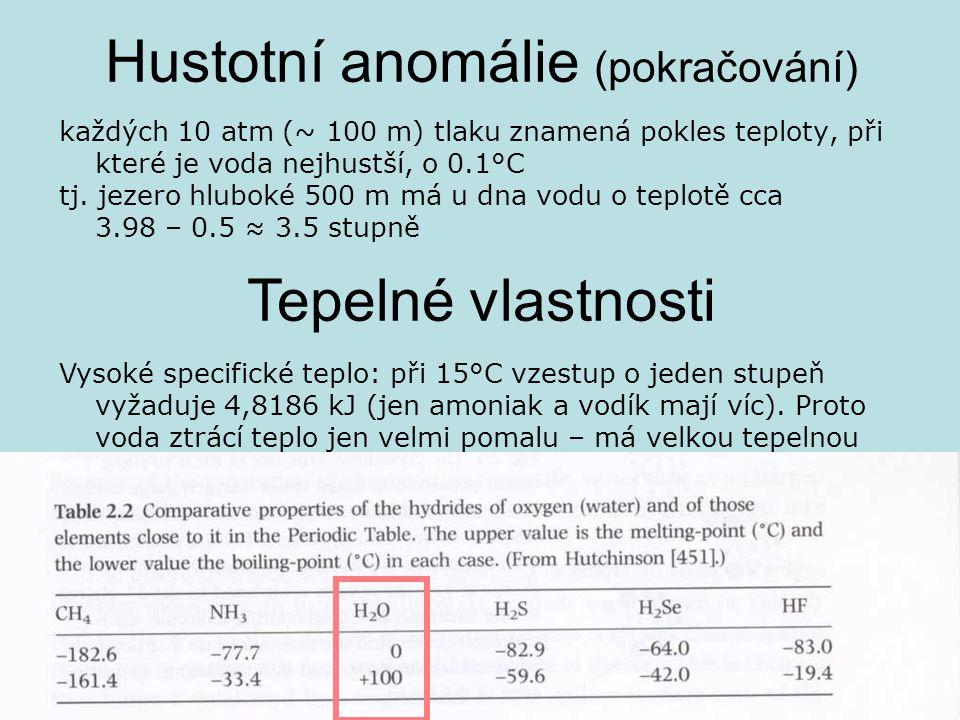Hustotní anomálie (pokračování) každých 10 atm (~ 100 m) tlaku znamená pokles teploty, při které je voda nejhustší, o 0.1°C tj. jezero hluboké 500 m m