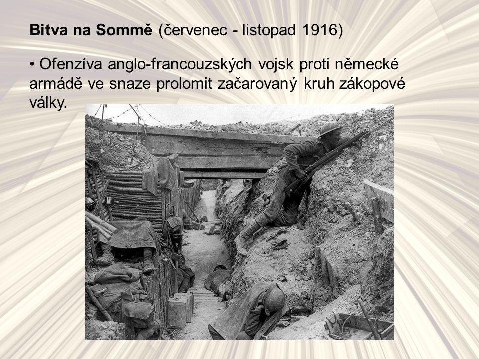 Bitva na Sommě (červenec - listopad 1916) Ofenzíva anglo-francouzských vojsk proti německé armádě ve snaze prolomit začarovaný kruh zákopové války.