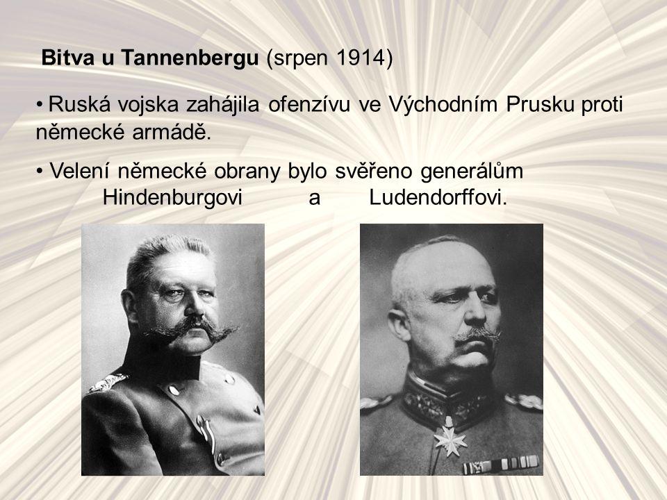 """I když byl ruský protivník početně mnohem silnější (ruský """"parní válec ), soustředěné německé jednotky obklíčily a zničily jednu ze dvou rozděleně postupujících ruských armád (narevskou – generál Alexandr Samsonov)."""