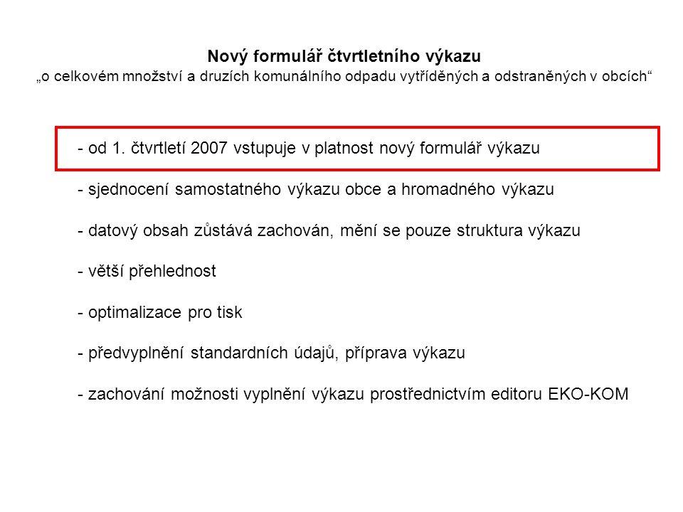 Výkaz je rozdělen do několika listů podle jednotlivých komodit.