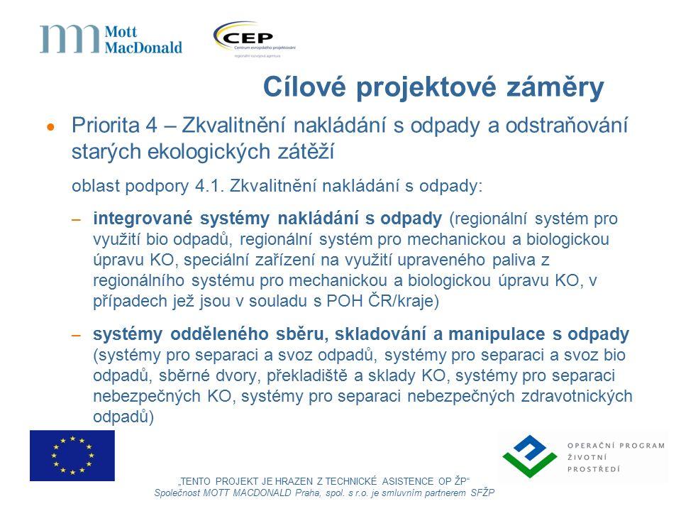 Cílové projektové záměry  Priorita 4 – Zkvalitnění nakládání s odpady a odstraňování starých ekologických zátěží oblast podpory 4.1.
