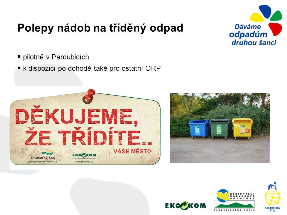 Polepy nádob na tříděný odpad  pilotně v Pardubicích  k dispozici po dohodě také pro ostatní ORP