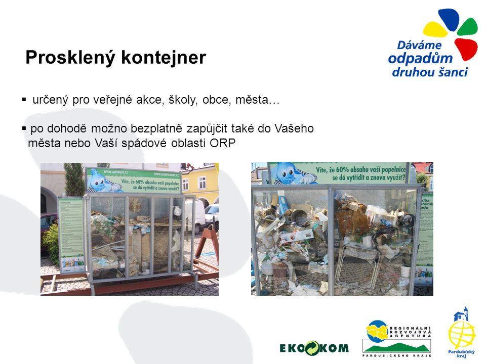 Prosklený kontejner  určený pro veřejné akce, školy, obce, města…  po dohodě možno bezplatně zapůjčit také do Vašeho města nebo Vaší spádové oblasti ORP