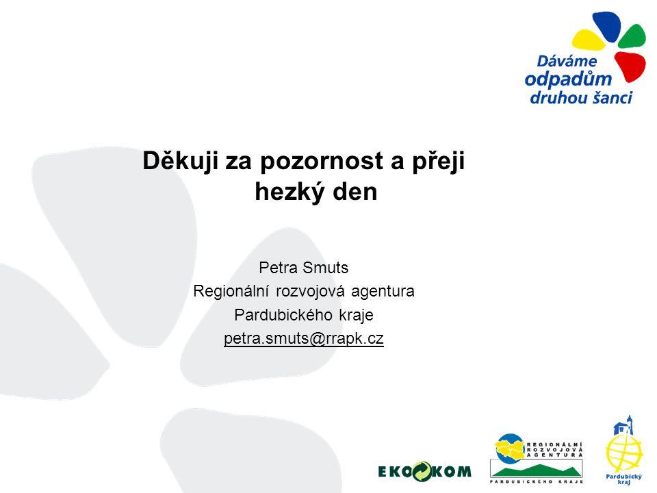 Děkuji za pozornost a přeji hezký den Petra Smuts Regionální rozvojová agentura Pardubického kraje petra.smuts@rrapk.cz