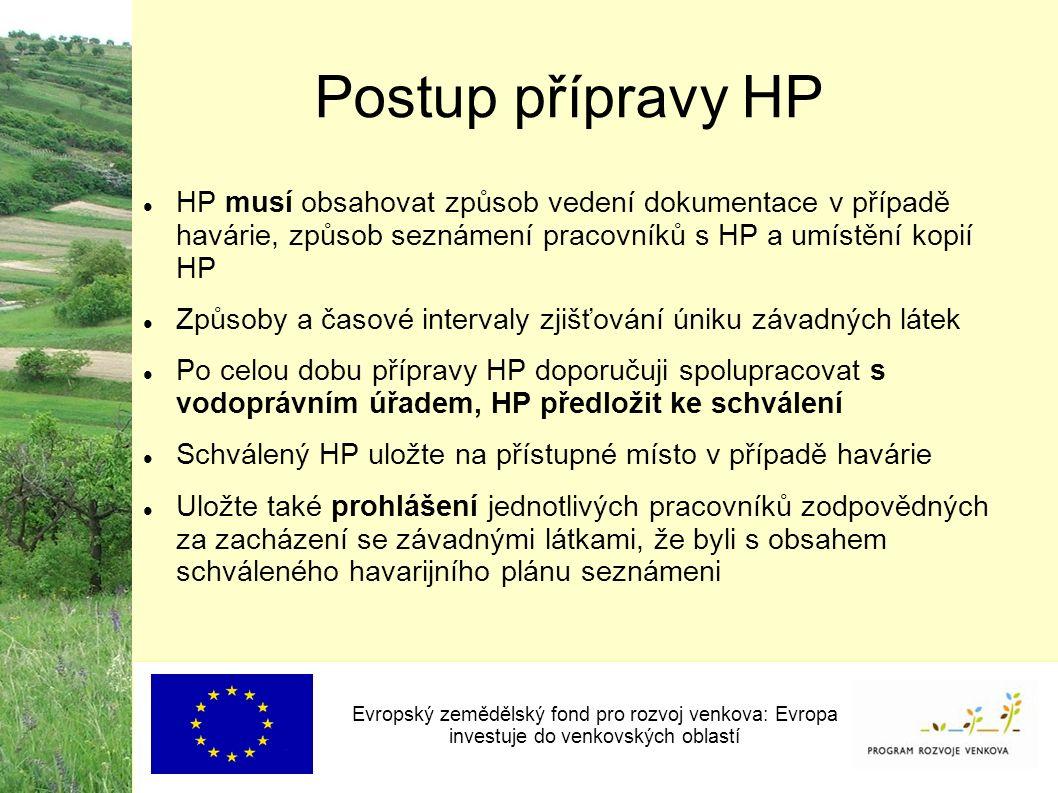 Postup přípravy HP HP musí obsahovat způsob vedení dokumentace v případě havárie, způsob seznámení pracovníků s HP a umístění kopií HP Způsoby a časov