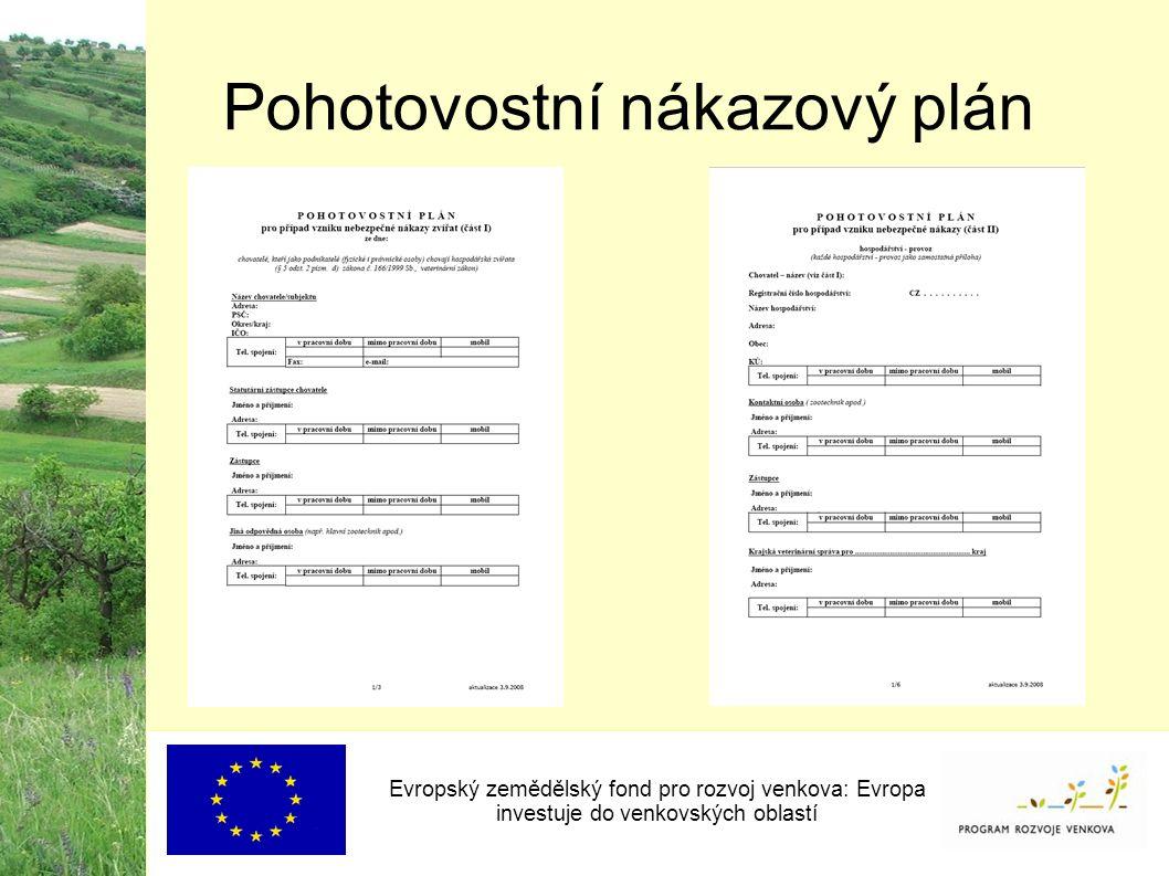 Pohotovostní nákazový plán Evropský zemědělský fond pro rozvoj venkova: Evropa investuje do venkovských oblastí