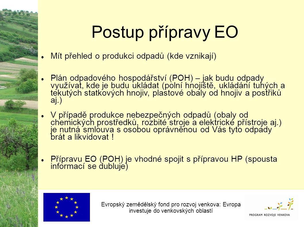 Evropský zemědělský fond pro rozvoj venkova: Evropa investuje do venkovských oblastí Postup přípravy EO Mít přehled o produkci odpadů (kde vznikají)