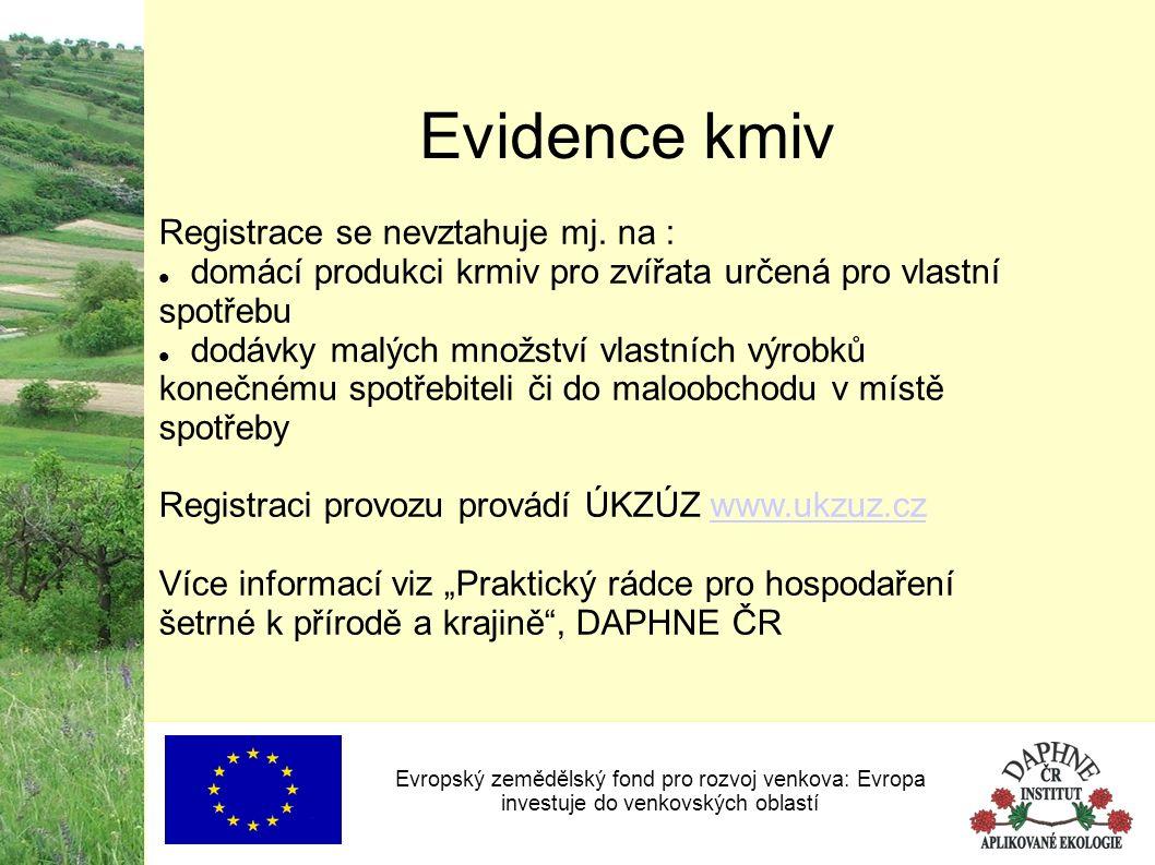 Evropský zemědělský fond pro rozvoj venkova: Evropa investuje do venkovských oblastí Evidence kmiv Registrace se nevztahuje mj. na : domácí produkci k