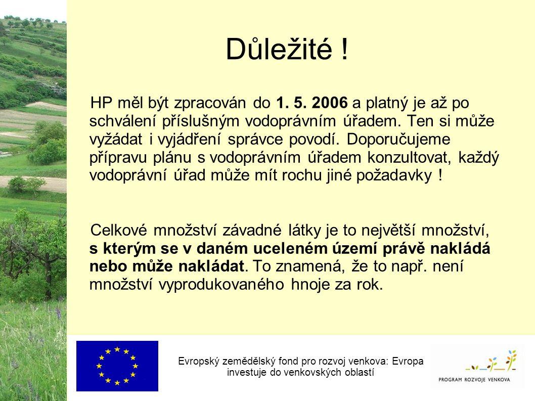Důležité ! HP měl být zpracován do 1. 5. 2006 a platný je až po schválení příslušným vodoprávním úřadem. Ten si může vyžádat i vyjádření správce povod