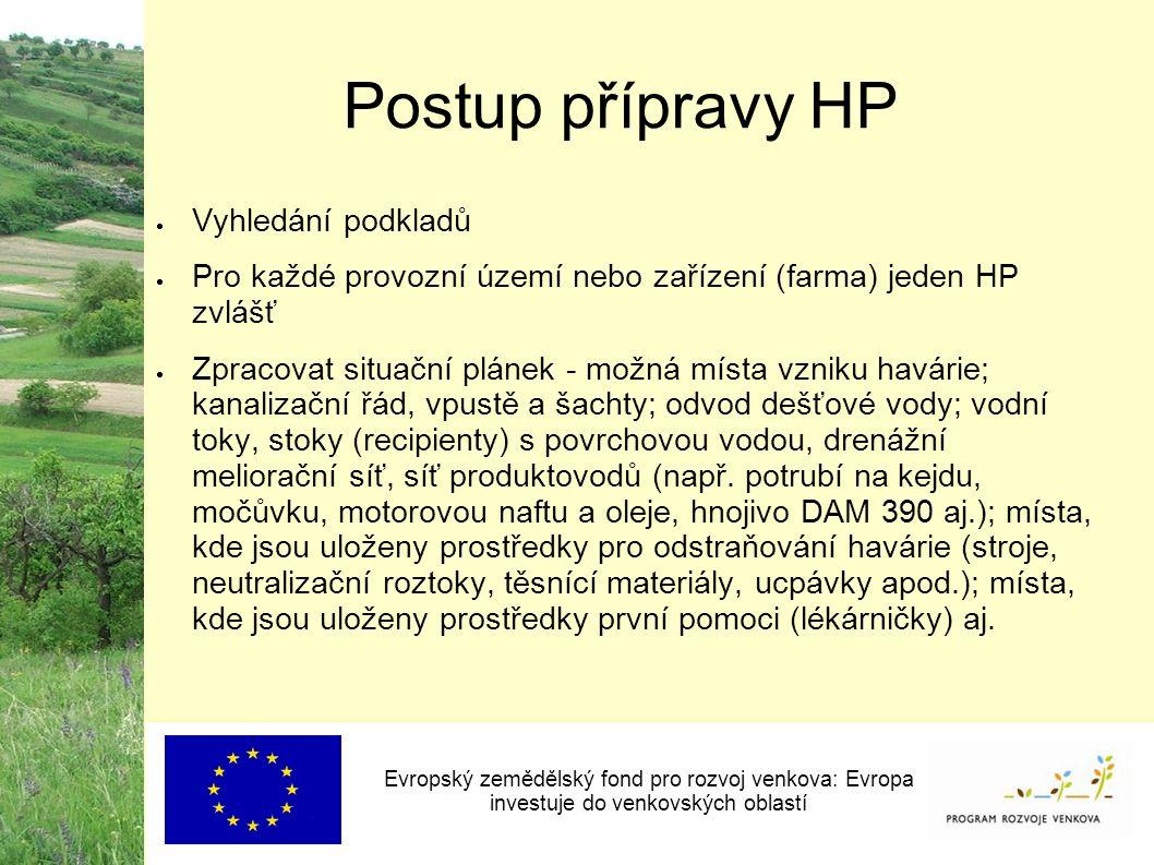 Postup přípravy HP  Vyhledání podkladů  Pro každé provozní území nebo zařízení (farma) jeden HP zvlášť  Zpracovat situační plánek - možná místa vzn