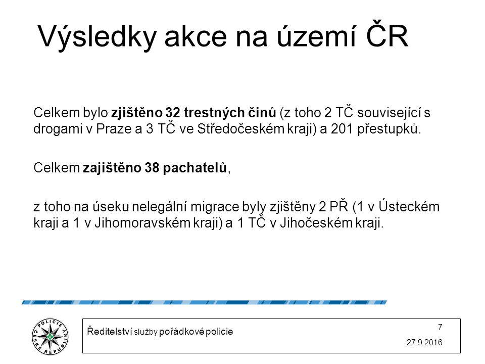 Výsledky akce na území ČR Celkem bylo zjištěno 32 trestných činů (z toho 2 TČ související s drogami v Praze a 3 TČ ve Středočeském kraji) a 201 přestupků.