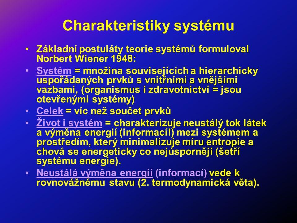 Charakteristiky systému Základní postuláty teorie systémů formuloval Norbert Wiener 1948: Systém = množina souvisejících a hierarchicky uspořádaných prvků s vnitřními a vnějšími vazbami, (organismus i zdravotnictví = jsou otevřenými systémy) Celek = víc než součet prvků Život i systém = charakterizuje neustálý tok látek a výměna energií (informací!) mezi systémem a prostředím, který minimalizuje míru entropie a chová se energeticky co nejúsporněji (šetří systému energie).