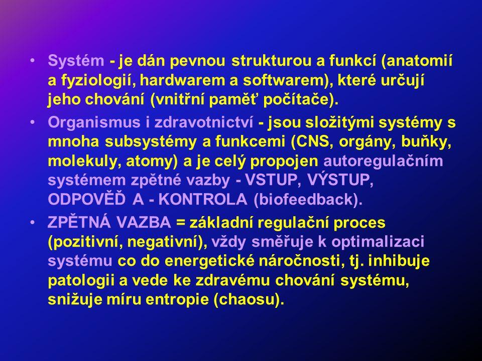Systém - je dán pevnou strukturou a funkcí (anatomií a fyziologií, hardwarem a softwarem), které určují jeho chování (vnitřní paměť počítače).