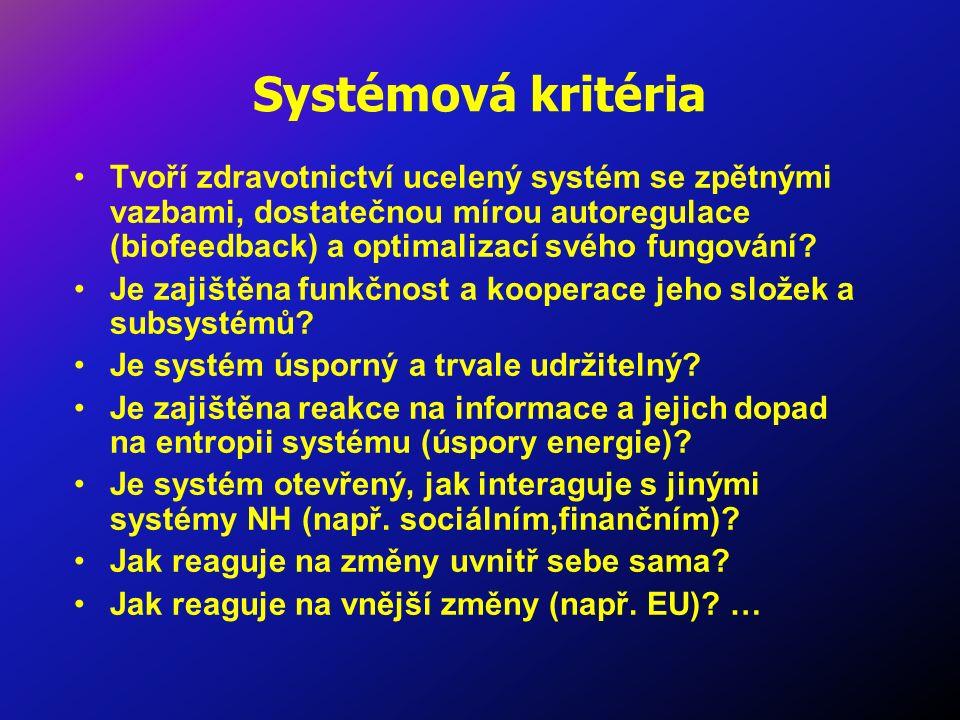 Systémová kritéria Tvoří zdravotnictví ucelený systém se zpětnými vazbami, dostatečnou mírou autoregulace (biofeedback) a optimalizací svého fungování.