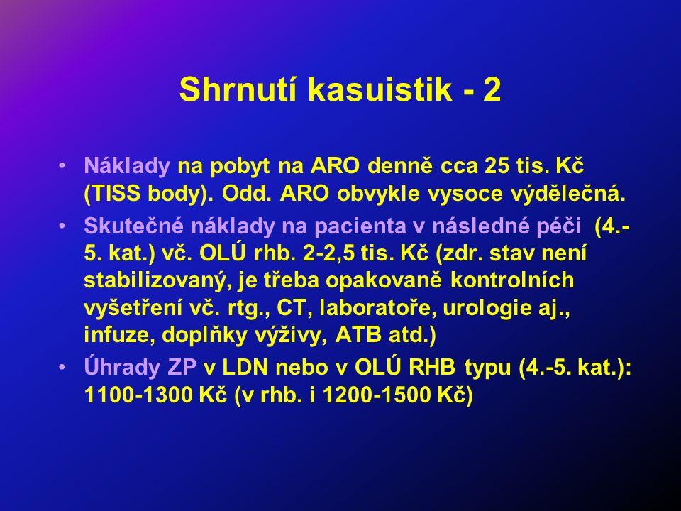 Shrnutí kasuistik - 2 Náklady na pobyt na ARO denně cca 25 tis.
