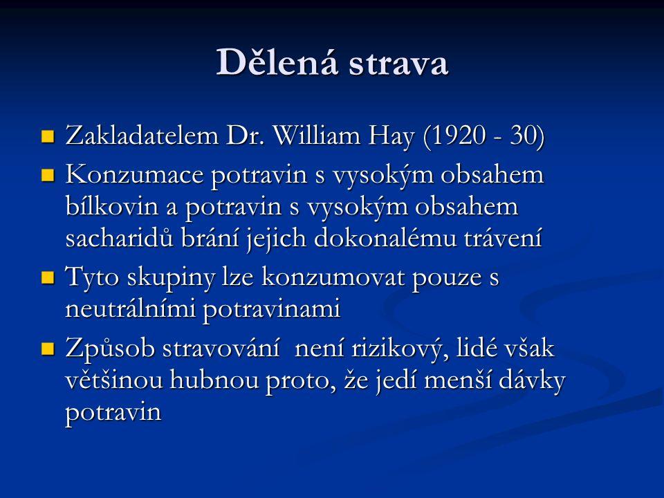 Dělená strava Zakladatelem Dr. William Hay (1920 - 30) Zakladatelem Dr.